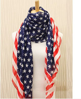 Wholesale Stars Stripe Chiffon Scarf - USA Flag Style Women Scarves five-pointed star Stars Style 165*70cm 10pcs lot FFF