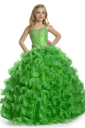 Discount emerald green pageant girl dresses - New Arrival 2018 Girl Pageant Dress Beautiful Emerald Green Beading Ball Gown Lovely Flower Girl Dresses FLG005