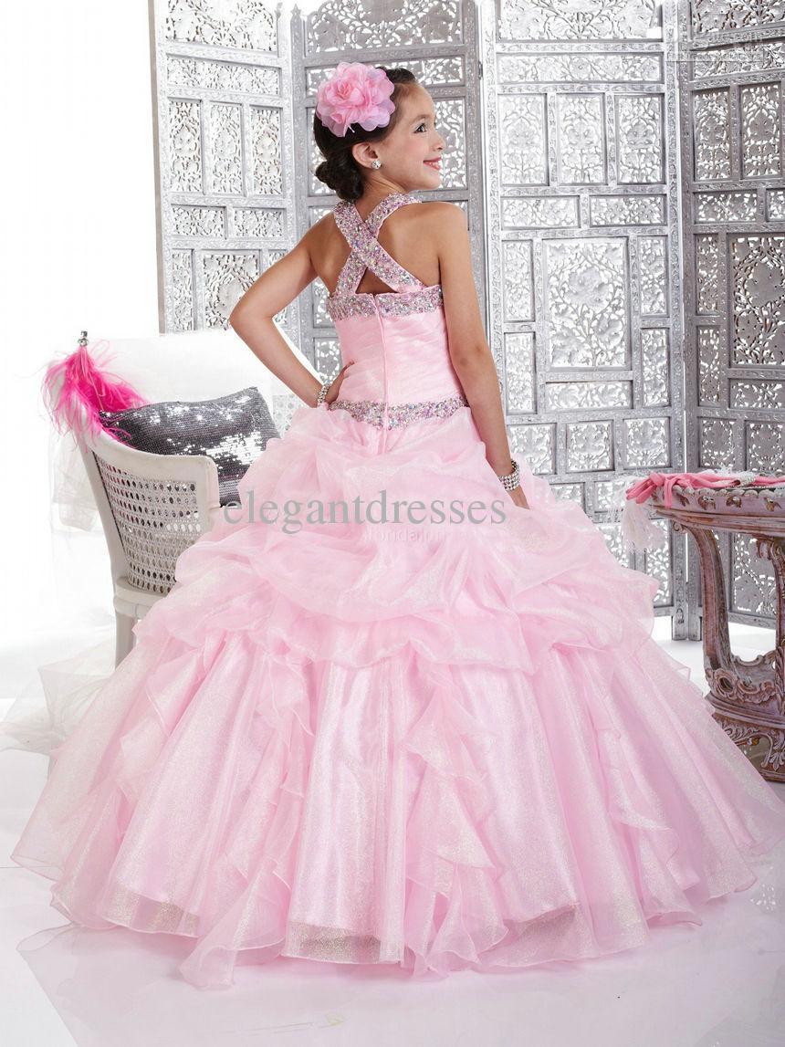 Nueva llegada hermosa rosa linda princesa bola vestido encantador flores niña vestidos flg014