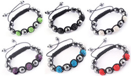 Wholesale Disco Magnetite - shamballa New Fashion Shinning Disco Magnetite metal Ball Beads Macrame Crystal Bracelets 50pcs