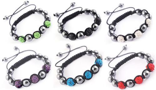 Shamballa neue Mode Shinning Disco Magnetite Metallkugel Perlen Makramee Kristall Armbänder 50pcs