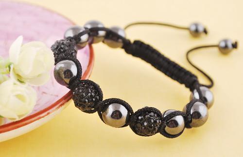 Shamballa neue Mode Shinning Disco Magnetite Metallkugel Perlen Makramee Kristall Armbänder