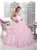 images jolie fille belle fleur achat en gros de-Nouvelle Arrivée Belle Rose Mignon Princesse Robe de Bal Belle Fleur Fille Robes FLG014