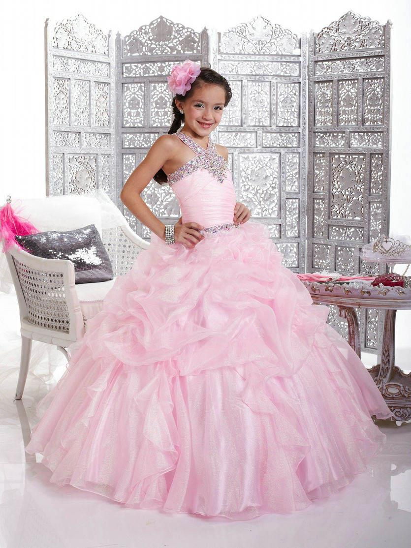 New Arrival Beautiful Pink Cute Princess Ball Gown Lovely Flower Girl Dresses FLG014