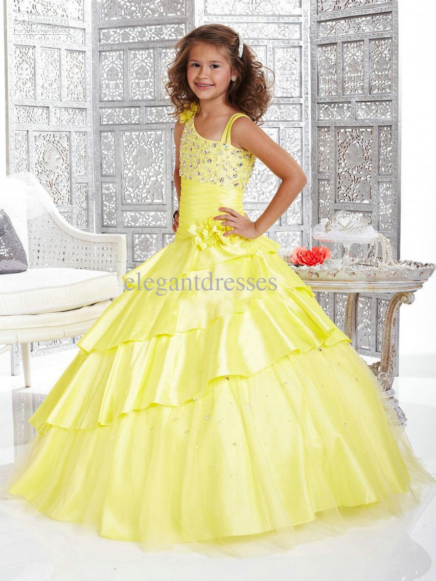Schattige prinses mooie gele een schouder grote korting meisje Pageant jurken flg015