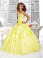vestidos adoráveis amarelos venda por atacado-Princesa bonito Adorável Amarelo Um Ombro Grandes Vestidos Pageant Da Menina Do Disconto FLG015