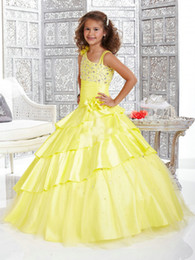 DiscounteD beaDs online shopping - Cute Princess Lovely Yellow One Shoulder Big Discount Girl s Pageant Gowns FLG015