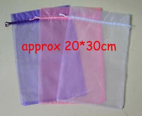 100 stücke 20 * 30 cm Organza Schmuck Make-Up Taschen Hochzeit Süßigkeiten Taschen Weihnachtsgeschenk Aufbewahrungsbeutel