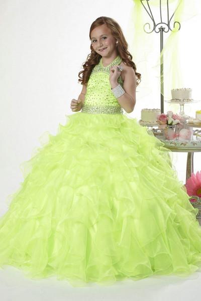 best selling Elegant Light Green Princess Sparking Beaded Ball Gown Organza Halter New 2018 Flower Girl Dress FLG021