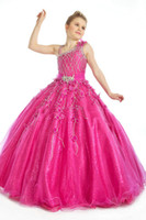 Wholesale Ball Gown Fuschia - Beautiful Ball Gown Fuschia Organza Beading Girl's Pageant Gowns FLG004