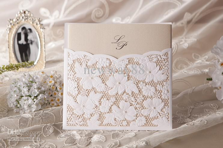 Wedding Invitations In Bulk: Lace Floral Wedding Invitation In White Set Of 100