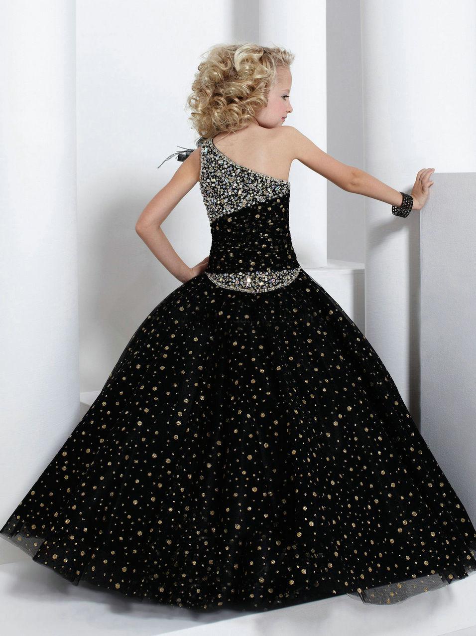 Lindo vestido de baileBlack Beading vestido de concurso de um ombro menina FLG033