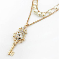 Wholesale Crown Key Pearl Necklace - New arrival bling big crystal crown key pendant pearl chain women necklace free shipping