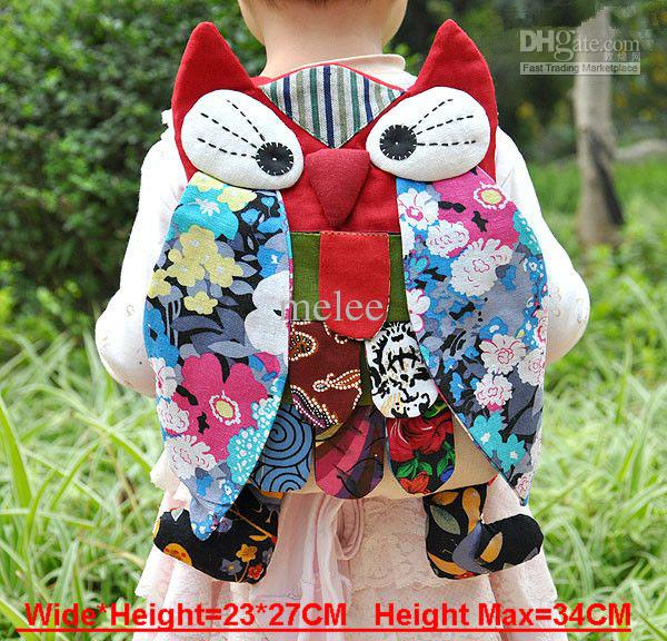 0 Natal OWL Mochila Escolar sacos de Escola Sacos de bebê mulheres Senhora Menina Coruja colorida mochila carteiras 14 * 11 CM