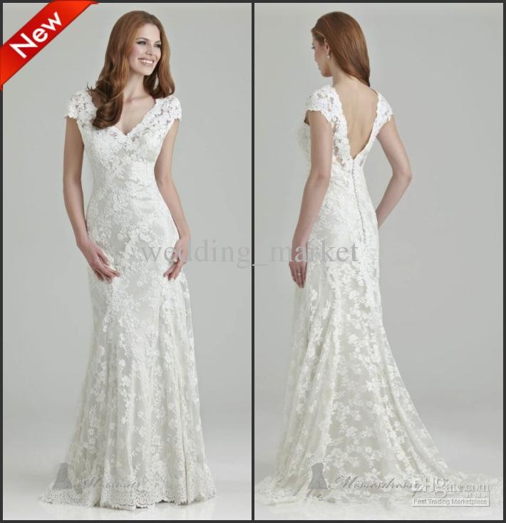 2015 Lace Mermaid Backless Wedding Dresses Cap Sleeves Sweep Train ...
