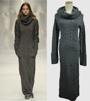 Wholesale Sexy Long Women S Coat - New Arrival fashion sexy turtle heaps neck wool knitting women runway maxi sweater casual long maxi skirt winter skinny gray outfit coat
