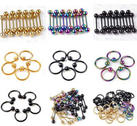 Wholesale Navel Rings Body Piercing - Lots 105pcs Body Pierce Jewelry Fashion Stainess Steel Navel Belly Eyebrow Tougue Rings [BB62-BB68(150)]