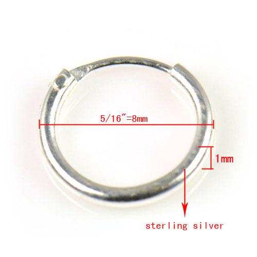 Sterling Silver Teeny Endless Hoop Örhängen för brosk, näsa och läppar, 5/16 tum = 8mm pt-697