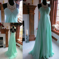 Wholesale Beaded Empire Waist Halter Dress - 2015 Hot Evening Dresses New Fabulous Crystal Beaded Halter Empire Waist Chiffon A line Prom Gown Party Dress Custom made
