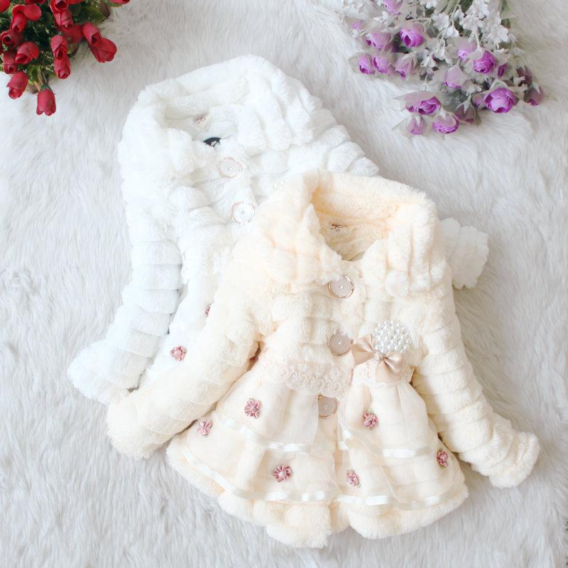 Baby Girls Winter Fur Jacket With Lace And Embd Flower Kids Coat ...