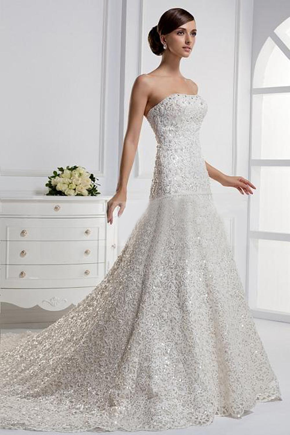 discount real sample wedding dress stunning mermaid strapless chapel train best designer wedding dresses classic lace wedding dresses from movvyhongkong