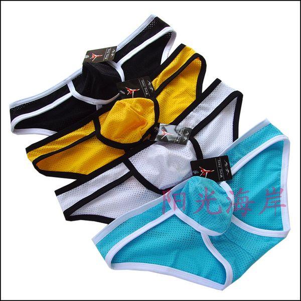 Pantaloncini sexy da uomo Intimo Pantaloncini in mesh traspirante Slip in nylon liscio Pantaloncini sottotuta U-Design Pouch Fashion MIX Colori 100 pezzi