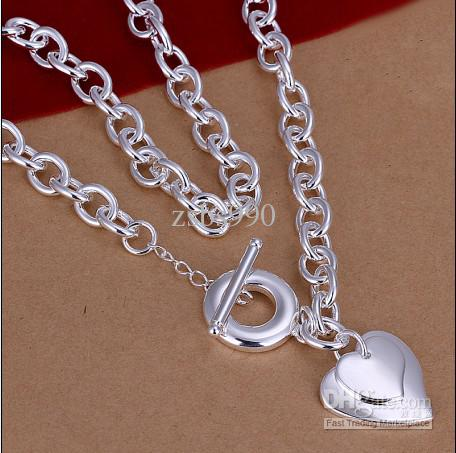 Qualität die 18inches überzog Herzanhänger des Sterlingsilber 925 zur Halskette freies Verschiffen 5pcs