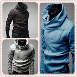 Wholesale Mens Fitted Gray Hoodie - 2017 Autumn Hot Mens Collar Hoodies Slim Fit Oblique Zipper Casual Hoodies Sweatshirts 3 colors 4 Sizes Cotton