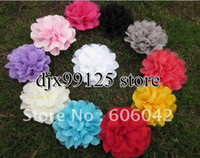 Wholesale Tulle Puff Flowers - 50pcs lot Assorted Colours Silk Lace Layered Flowers,Tulle Puff Flower Flowers,Hair flowers