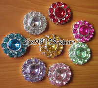 Wholesale Rhinestone Rosette Buttons - 40pcs lot 22mm Rosette Button,Alloy Color Gems Crystal Button Spark Rhinestone Buttons