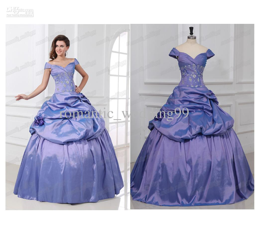 bac7404b093 2015 Fashion Off The Shoulder Purple Princess Ball Gown Quinceanera Wedding  Dresses Embroidery Party Formal Gowns Canada 2019 From Romantic wedding99