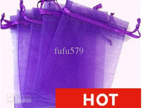 2017 Purple Drawstring Christmas Gift Bags Organza Fabric Recycle ...