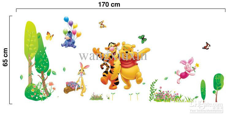 Large Winnie The Pooh In Jungle Wall Stickers Mural Wall Decor Room Decal