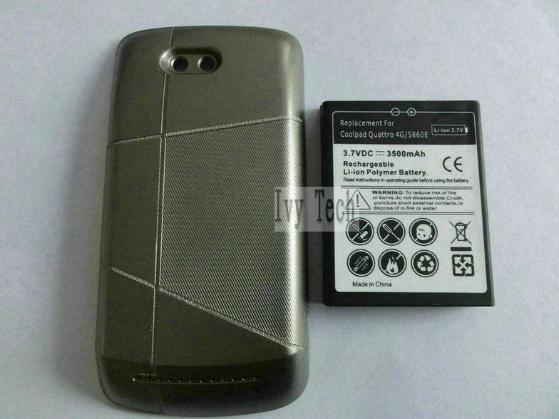 Para Coolpad quattro 4g 5860E bateria estendida com tampa da bateria 3500mAh 50pcs / lot