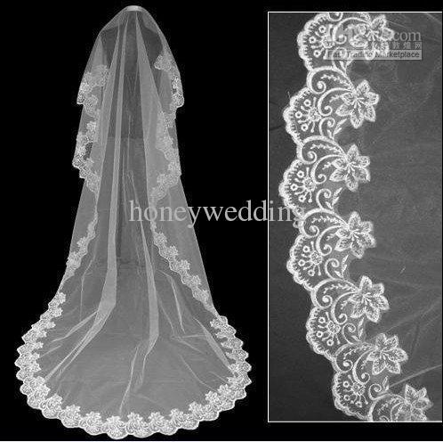 長い床の長さのビーズのレースの縁は白い薄いチュールの短い結婚式のボイルの長いブライダルベールズN001