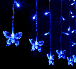 Le luci del ghiaccio impermeabilizzano online-Xmas Impermeabile Batterfly 4x0.6Meter 120leds Natale LED Icicle Lights, End to End, 6 colori