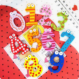 Wholesale Cute Fridge Magnet Toy - Baby educational toys hot Baby toys Cute little eyes wooden fridge magnet magnetic digital chip 10pcs=1set free shipping