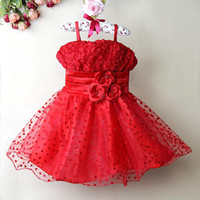 Wholesale Garment Lining Wholesale - New Children Girl Princess Tutu Dresses Red Formal Flower Kids Party Ball Gown Girl Infant Garment Kids Clothes GD21029-17