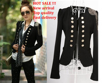 Wholesale Ladies Suits Wholesale - Fashion Women lady suit New Korean women Double breasted Suit slim jacket coat black jackets