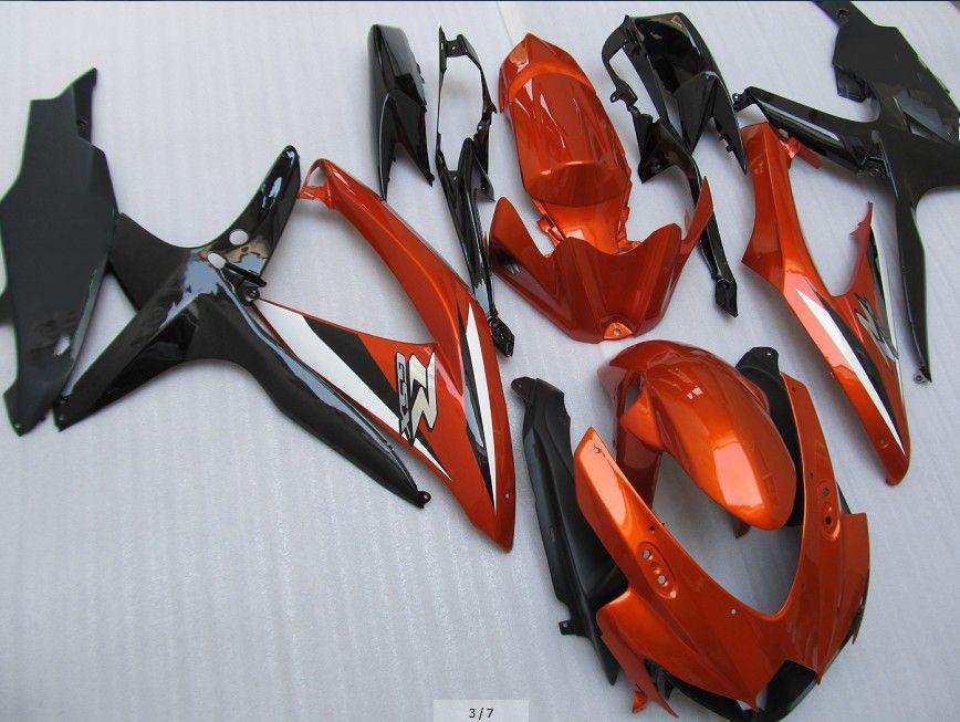 Orange Black White Fairings Kit för Suzuki GSXR 600 750 2008 2009 K8 GSXR600 GSXR750 08 09 10