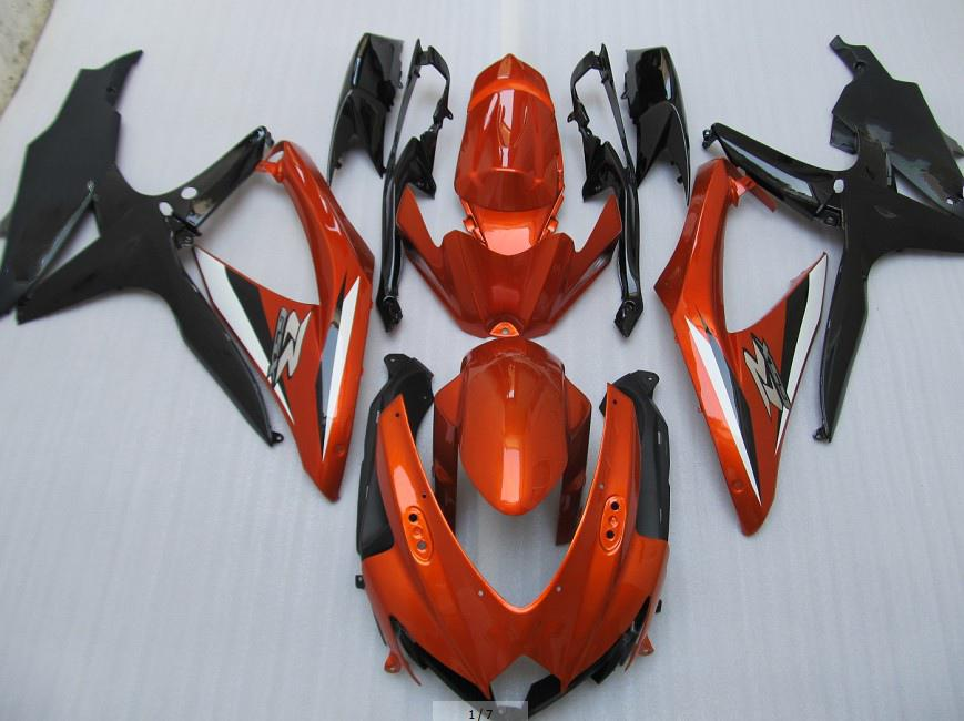Orange black white fairings kit for suzuki GSXR 600 750 2008 2009 K8 GSXR600 GSXR750 08 09 10