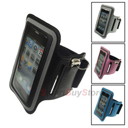 Wholesale I Phone Armbands - Elastic Rubber Sports Runing Arm Armband Cover Case For iphone 4S 4 4G 3GS i touch Mobile Phone Case