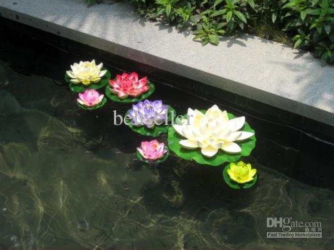 60CM simulación flor de seda artificial flor de loto flotante plantas de agua de color rosa