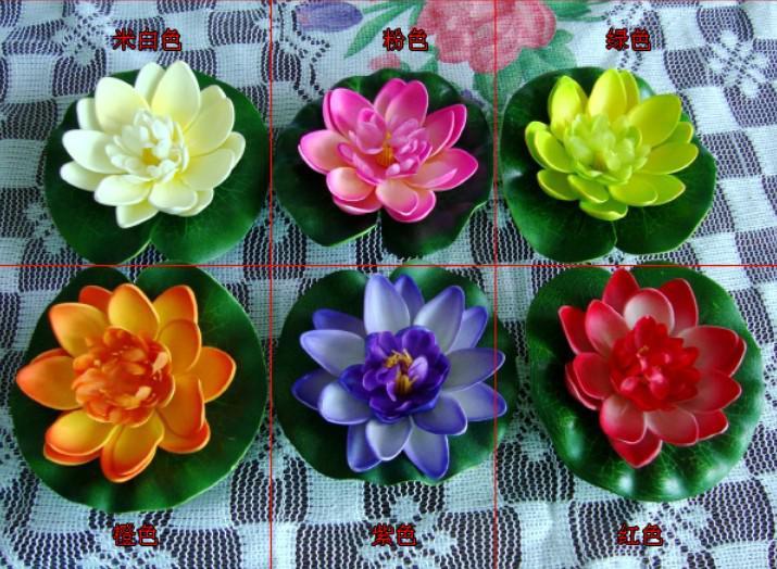 10cm simulering blomma konstgjord silke lotus flytande vatten hem trädgård fisk tank dekor 50st 30pcs