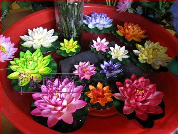 Hem trädgård dekoration 10cm simulering blomma konstgjorda silke lotus blomma flytande vatten växter