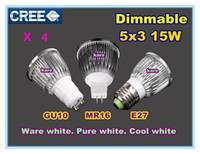 Wholesale Led Dimmable Downlight 5x3w - 50pcs Ultra bright Led bulb 15W 5x3W 110-240V GU10 MR16 E27 dimmable replace 80W Light spot Lamp Spotlight downlight lighting free shipping