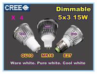 Wholesale Led Lamp 5x3w 15w Dimmable - 50pcs Ultra bright Led bulb 15W 5x3W 110-240V GU10 MR16 E27 dimmable replace 80W Light spot Lamp Spotlight downlight lighting free shipping