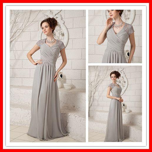New Modern Modest Short Sleeves Grey Chiffon Formal Evening Dresses