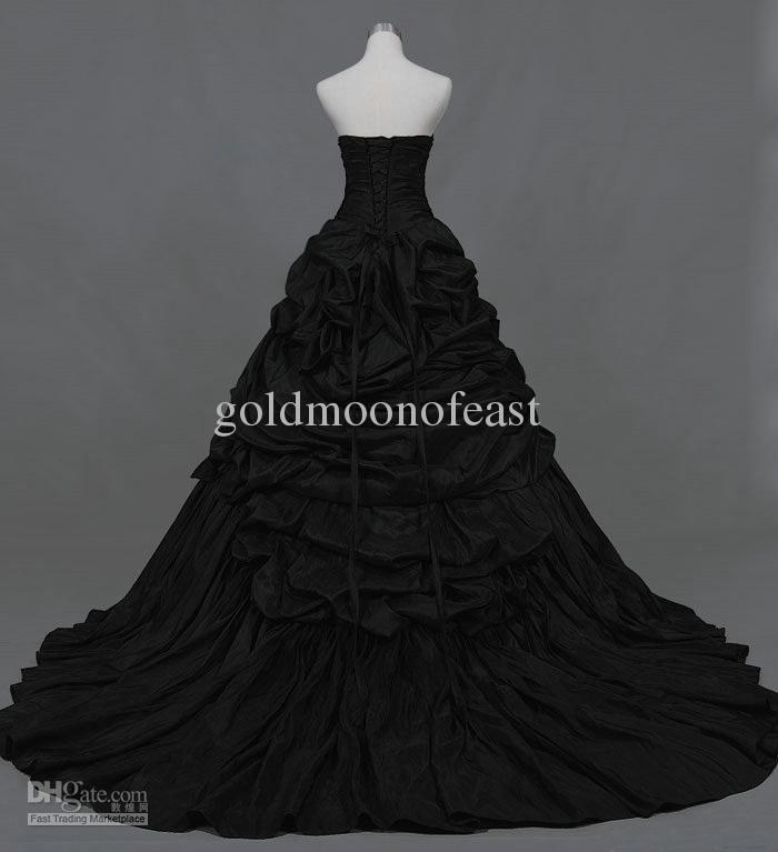 Black strapless court train pleated and ruffles taffeta ball gown wedding dresses of bride lace up