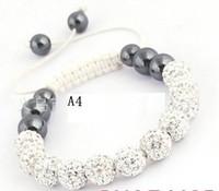 ingrosso braccialetto della sfera della porcellana-Braccialetto di perline di cristallo shambhala soft stone crystal ball 10 mm gioielli in pietra nera